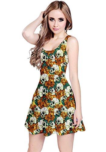 vestido skater CowCow, diseño con flores y calaveras, sin mangas, estilo informal Naranja naranja M