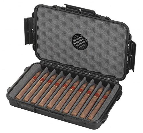 Hochwertiger und Exklusiver Reisehumidor für Zigarren - Wasserdicht - Staubdicht - Aus robuster Hartschale - Made in Germany (10 Zigarren) (10 Humidor)