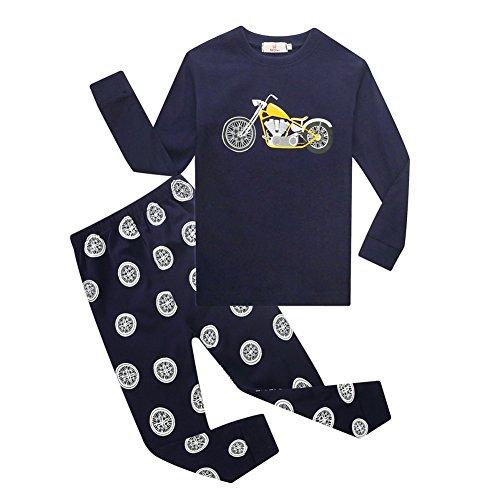 Baby Jungen Nachtwäsche Langarm Nachtwäsche gedruckt Motorrad schöne Pyjamas Set von (Motorrad Mädchen Halloween Kostüm)