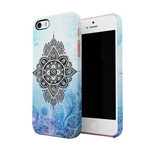 Henna Turquoise Lotus Blossom Yin Yang Dünne Rückschale aus Hartplastik für iPhone 5 & iPhone 5s & iPhone SE Handy Hülle Schutzhülle Slim Fit Case cover Turquoise Mandala