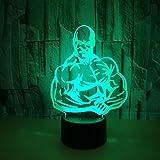Kreative 3D Bodybuilding Nacht Licht 7 Farben Andern Sich USB Adapter Touch Schalter Dekor Lampe Optische Täuschung Lampe LED Lampe Tisch Kinder Brithday Weihnachten Geschenke