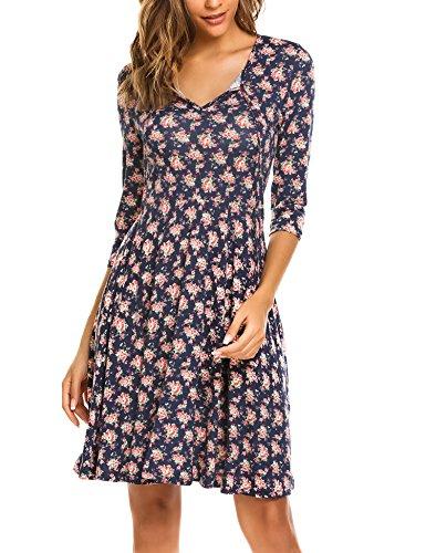 Zeagoo Damen Vintage Kleid Sommerkleid Cocktailkleid Party Kleid mit Blumenmuster V Ausschnitt A...