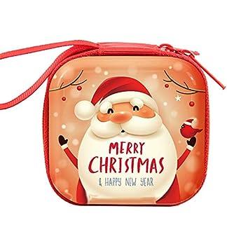 21sandwhick Monedero de Papá Noel, muñeco de nieve, ciervo, pingüino, monedero redondo con cierre caja para auriculares 1#