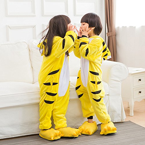 ABYED® Jumpsuit Tier Karton Fasching Halloween Kostüm Sleepsuit Cosplay Fleece-Overall Pyjama Schlafanzug Erwachsene Unisex Lounge,Kinder Größe 105 - für Größe: 116-125cm Gelber (Kinder Kostüme Tiger)