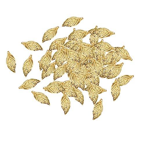 100er Set Filigrane Blätter DIY Charme Schmuck Erkenntniss Anhänger Charms DIY Basteln - Gold