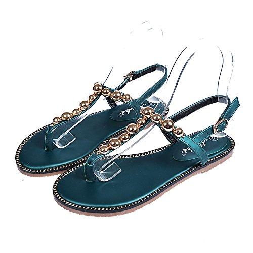 Flache Bottom Sandalen modische flache Bottom Sandalen koreanischen Stil Metall dekorative Strand Schuhe Blackish green