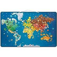 Janod - Mapa del mundo magnético con animales (J02889)