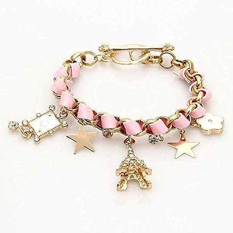 Boladge Fashionable Cute Flower Star Hand Jewelry Women Leather Chain Cuff Bracelet Girls Friendship Charm Bracelets (Pink)