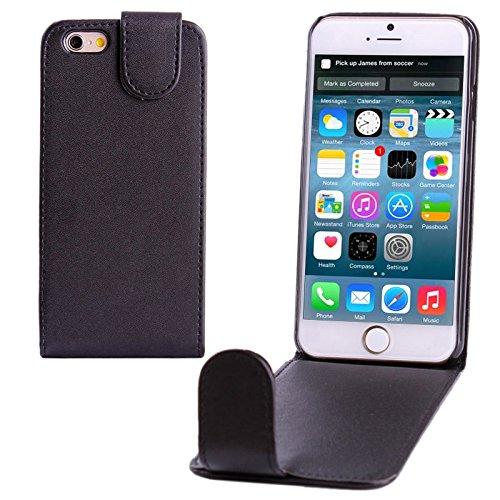 wortek Flip Case Vertikal Apple iPhone 6 4,7 Zoll Tasche Etui Pure Color Magnetverschluss Schwarz Schwarz