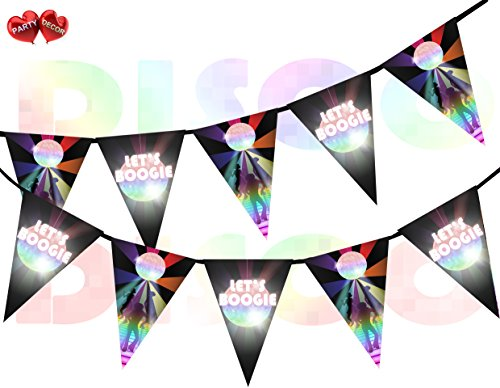 Let's Boogie Bunting. 15 flags. Ideal for indoor or outdoor party.