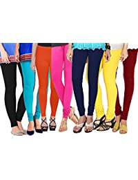 Shmayra Multicolor Soft & Stretchable Churidar Free Size Leggings For Womens Combo Offer - (Pack Of 6) Leggings...