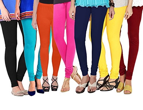 Shmayra Multicolor Soft & Stretchable Churidar Leggings for Womens Free Size – (Pack of 7) Leggings Combo Offer