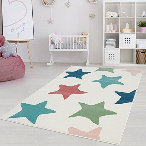Kinderteppich Jugendteppich mit Pastellfarben, Modernes Sternen-Motiv für Kinder-/ Jugendzimmer in...