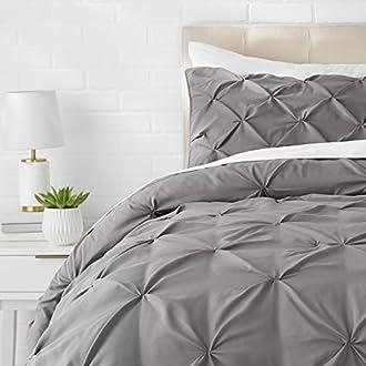 AmazonBasics Pinch Pleat Comforter Set - 155 x 220 cm, Dark Grey