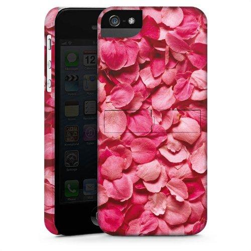 Apple iPhone 5 Housse Étui Protection Coque Feuilles de roses Pétales Rose vif CasStandup blanc