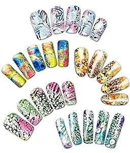 La vie sauvage des animaux et des motifs floraux ongles transferts d'eau de tatouage, un ensemble de cinq // Wild Life Animal & Floral Patterns Water Nail Tattoo Transfers, Set of 5