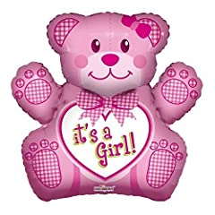 Idea Regalo - Caleidoscopio 71,1 cm Baby Girl Bear foil Mylar balloon, 5 pezzo