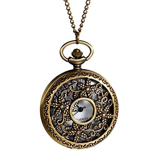 Retro Herren Damen Taschenuhr, LANCARDO Kettenuhr Analog Quarz Blumenrebe Muster Uhr mit Halskette, Bronze