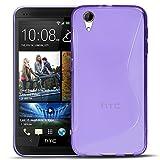 Conie SC5730 S Line Case Kompatibel mit HTC Desire 728G, TPU Smartphone Hülle Transparent Matt Rutschfeste Oberfläche für Desire 728G Rückseite Design Lila