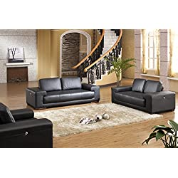 Voll-Leder-Sofa-Garnitur-Polstermöbel-Sessel Ledersessel Ledersofas 5042-3+2+1-S