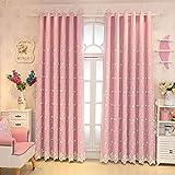 Nclon Spitze Voile Vorhänge gardinen,Licht Blockiert Thermisch Isoliert UV Schutz Prinzessin Wind Vorhänge gardinen-Rosa 1 Panel W150cm*D270cm