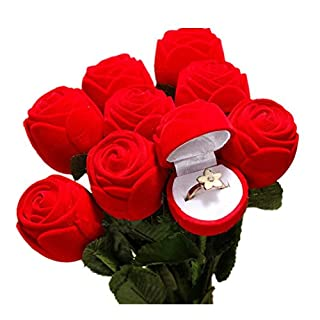 Rot Rose Schmuck Geschenk-Box Fall, Samt Satin Hochzeit Jahrestag Geburtstag Geschenke Box Engagement Ring Ohrring Display Box Valentine 's Day Muttertag 1 von asdomo