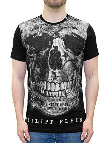 """Philipp plein maglietta nera modello """"limited"""" - t-shirt con stampa teschio e applicazioni in cristalli (s)"""