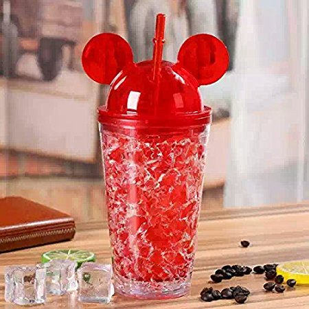 Satyam Kraft Frosty Mason Jar Super Ice Cup with Straw gift for Diwali/gift for friend/gift for kids/gift/Diwali gift idea/gift for Birthday/new year gift - Red,400 ml