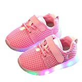 FAVOLOOK LED Shoes Kids, Boys Girls First Walkers Light Up Luminous Lace Up Casual Running Sport Sneakers Size (UK 5.5, Pink)