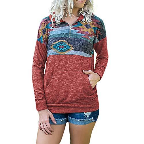 Produktbild TianWlio Damen Hoodie Frauen Langarm Hoodie Mode Langarm Herbst Winter Langarm Drucktaschen Reißverschluss Sweatshirt Pullover Bluse Tops