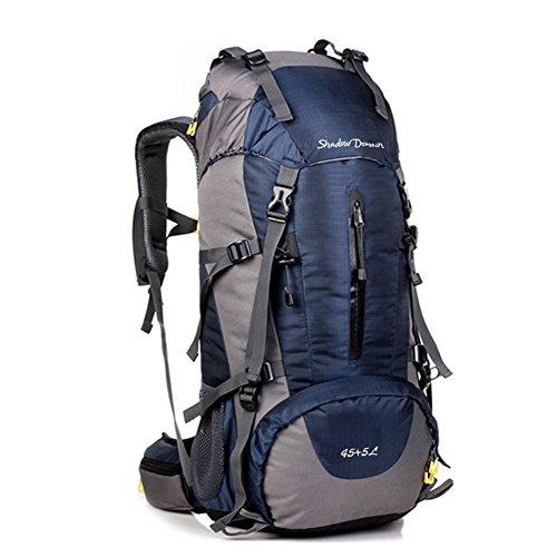 Wasserdichter Rucksack mit 45L + 5L Fassungsvermögen aus strapazierfähigem Nylon mit Regenschutzhülle. Großer Trekkingrucksack, perfekt zum Wandern, Bergsteigen, Reisen und für Sport und Camping (Blau)