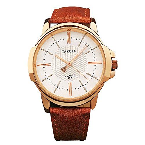 YaZhuoLun Herren Quarzuhr Armbanduhr Legierung PU-Leder Wasserdicht Uhren Uhr Geschäftsuhr(Braun)