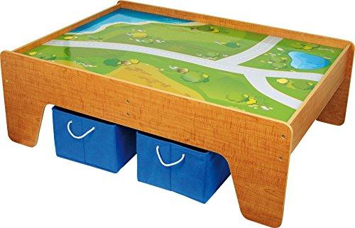 Small Foot 2232 table de jeu en bois, avec surface textile, y compris deux boîtes textiles pour plus d'espace de rangement, à partir de 3 ans