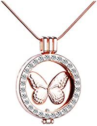 Infinito U único elefante mariposa para mujer collar intercambiables con camafeo colgante de cristal aleación Sweater Cadena, oro rosa