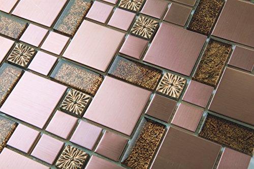 Stein-mosaik-fliesen-blatt (10cm x 10cm Muster Glas, geprägt Stein und gebürstet Edelstahl Mosaik Wand Fliesen Blatt Gold und Kupfer (MT0165 Muster))