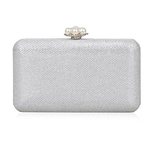 Damara® Damen Glitzer Pailletten Schnappverschluss Mit Perlen Clutch Silber