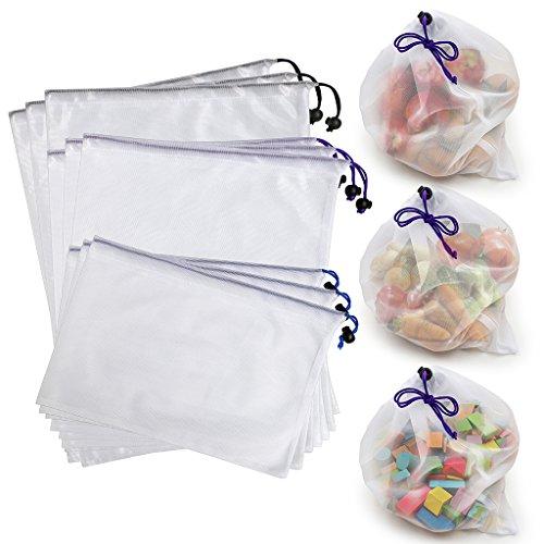 Btsky-Einkaufstaschen/Aufbewahrungsbeutel, wiederverwendbar, umweltfreundlich, waschbar, aus Netzstoff, mit Kordelzug, Textil, Multicolor/White, Set of 9