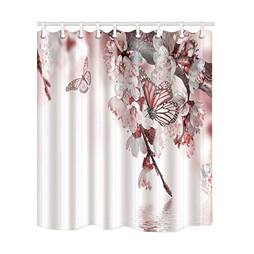 Flower Blossom Bath (JIEKEIO Flower Decor Peach Blossom with Butterfly Flying Shower Curtain 60 * 72inch Mildew Resistant Polyester Fabric Bathroom Fantastic Decorations Bath Curtains Hooks Included (Multi17))