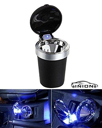 INION AD-19401- UNIVERSELLES KFZ LED Aschenbecher mit blauer LED Beleuchtung für Becherhalter Getränkehalter für alle Auto, PKW, LKW, Wohnmobil, Boot, Campingstuhl (1x LED Aschenbecher)