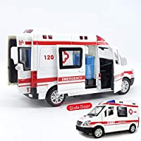 AHJSN Car model 1:32 City Diecast Ambulance Emergency Toy Car Model Light Slide Open Door Educational Kids Toys For Children