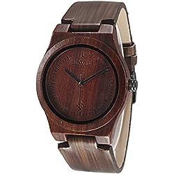 Alienwork Quartz Watch natural bamboo Wristwatch Handmade Leather black black UM105EG-01