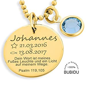 Taufkette Gold Junge Mädchen Gravur Taufspruch ❤️ Namenskette Taufe ❤️ Monatsstein Taufschmuck mit Daten Psalm Taufspruch ❤️ Taufe Geschenk Goldkette Geburt Baby   HANDMADE IN GERMANY