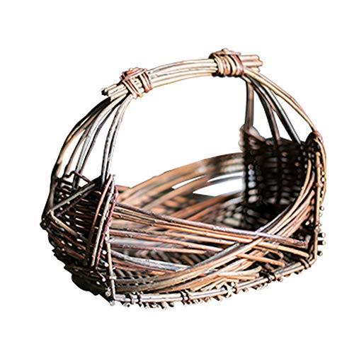 LinaXin Weidenkorb-Handgewebter FruchtsüßIgkeits-Speicher BlüHt Dekorativen Einkaufskorb,A -