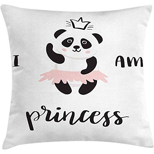 Throw Pillow I am a Princess Cushion Cover, Funny Ballerina Panda Bear Dancing in Pink Skirt Baby Kids Girls, Decorative Square Accent Pillow Case,Black and White Rose Size:20X20 Inches/50X50Cm - Textured Knit Skirt