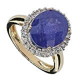 Harry Ivens DeLuxe Damen-Ring Gold Gelbgold 585 (14 Karat) Tansanit AAA Zirkon RW19