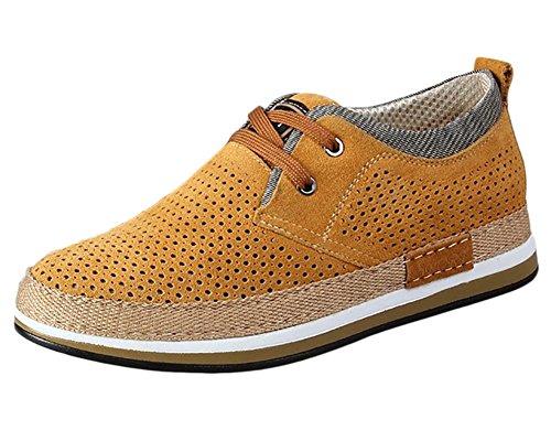 Chaussures à Lacets Homme en Suede Oxfords Adulte Chaussures de Multisports Outdoor Jaune Respirant