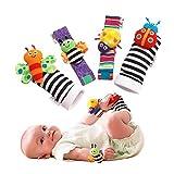 mxdmai 1 Paar Baby Handgelenk Rasseln und 1 Paar Socken Rasseln Set Pädagogische Entwicklung Plüschtiere Baby Taufen Geschenk