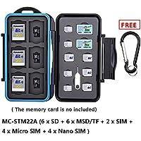 eFonto/JJC Estuche impermeable para tarjetas de memorias para combinaciones se ajusta a 6 SD, 6 MSD, 2 SIM, 4 Micro SIM, 4 Nano SIM tarjetas