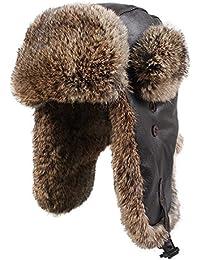 Kenmont Hiver hommes de cuir véritable de lapin en fourrure naturelle ski trappeur aviateur casquette chapeau Bomber