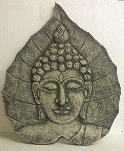 Cabeza de Buda Relief–cuadro de colgar piedra fundido pátina de Feng Shui 48cm Piedra Figura decorativa Frost libre